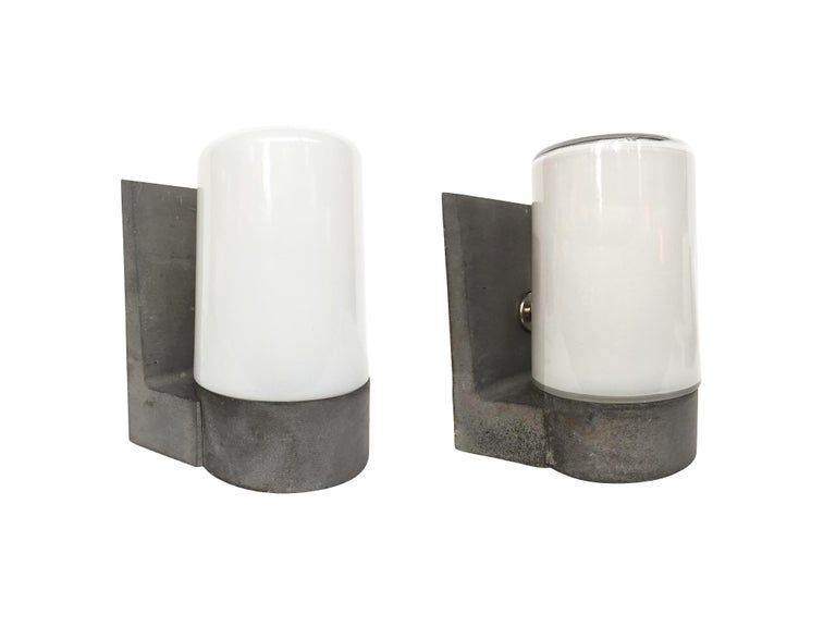 20th Century 1970s White Glass and Aluminum Wall Sconces For Sale