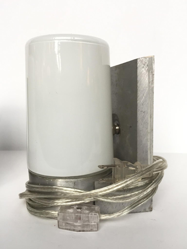 1970s White Glass and Aluminum Wall Sconces For Sale 3