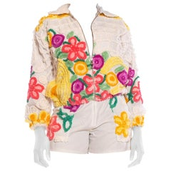 1970S White Hand Embroidered Cotton Recycled 1940S Chenille Jacket And Shorts En