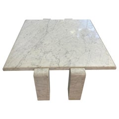 1970s White Italian Coffee Table in Carrara Marble by Skipper