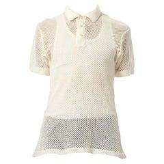 1970S White Sheer Cotton Blend Knit Mens Polo Shirt