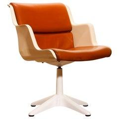 1970s, White Leather / Fibreglass Desk Side Chair by Yrjö Kukkapuro for Haimi