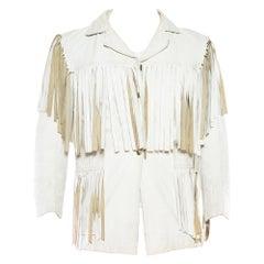 1970S White Leather Men's Fringed Jacket