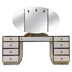 1970s White Lucite, Brass and Chrome Dressing Table by Michel Pigneres
