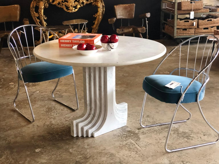 Italian 1970s White Marble Samo Table by Carlo Scapara For Sale