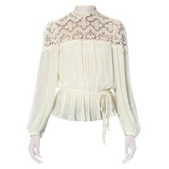 1970S White Polyester Chiffon & Lace Pleated Blouse With Elasticated Waist Belt