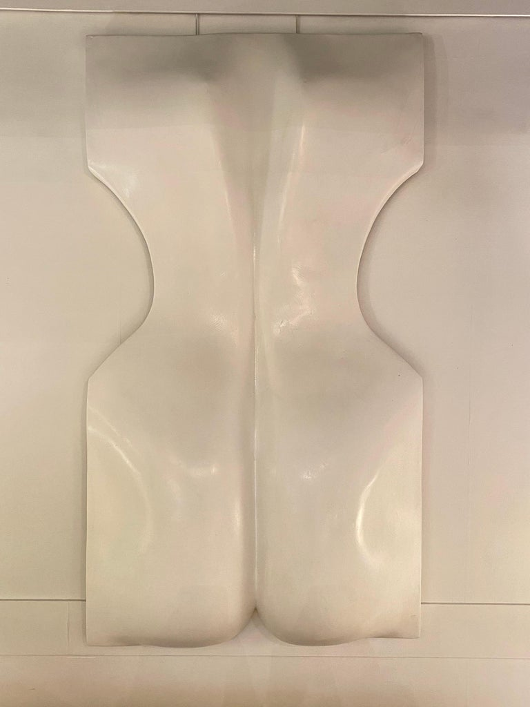 1970s white resin womans back sculpture by Luiza Miller.