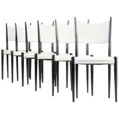 1970s White Skai Dining Chairs on Black Wooden Frame for G-Plan Set of Six