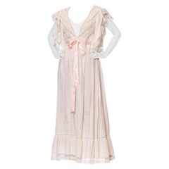1970S White Victorian Revival Cotton & Lace Duster Dress With Drawstring Ribbon