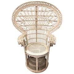 1970s White Wicker Peacock Throne Chair