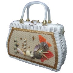1970s White Wicker Sea Life Coastal Handbag