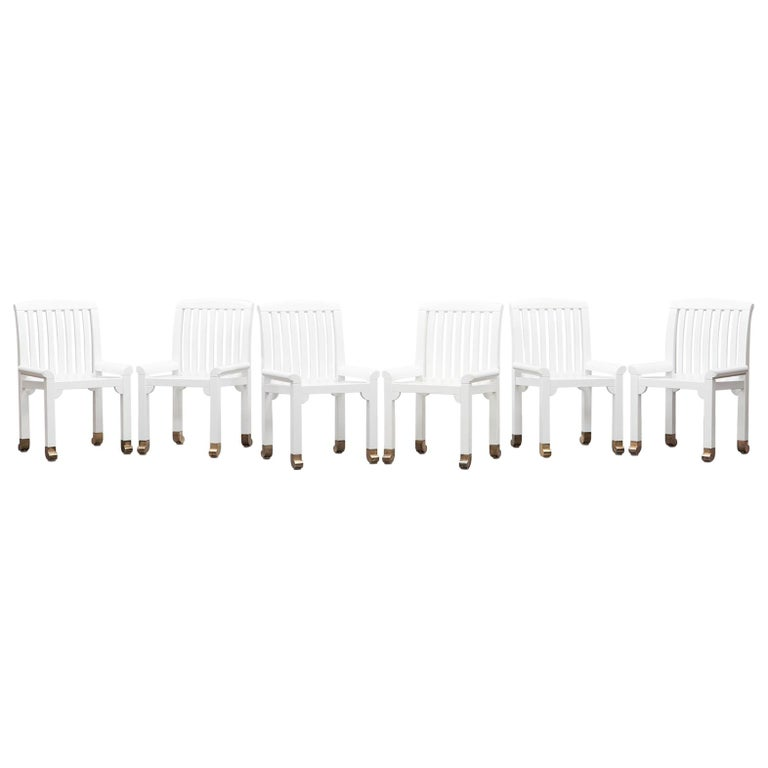 1970s White Wooden Set Of Six Chairs By Kerstin Holmquist