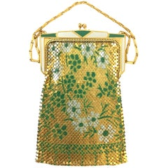 1970s Whiting and Davis Floral Enamel Gold Art Deco Mesh Purse