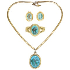 1970s Whiting & Davis Egyptian Revival Isis Cameo Parure