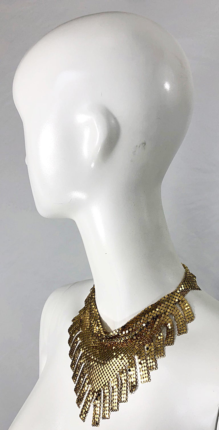 1970s Whiting & Davis Gold Chainmail Metal Fringed Vintage 70s Bib Necklace For Sale 6