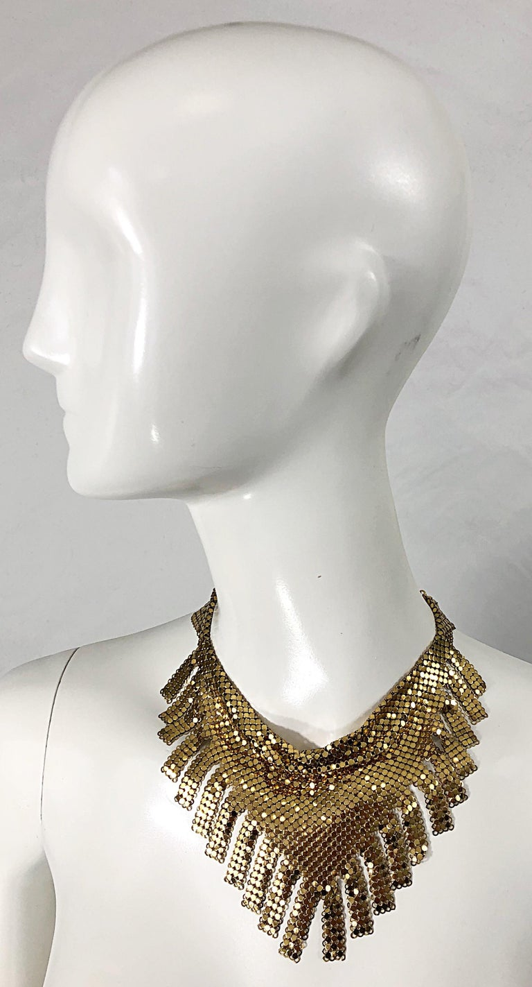 1970s Whiting & Davis Gold Chainmail Metal Fringed Vintage 70s Bib Necklace For Sale 7