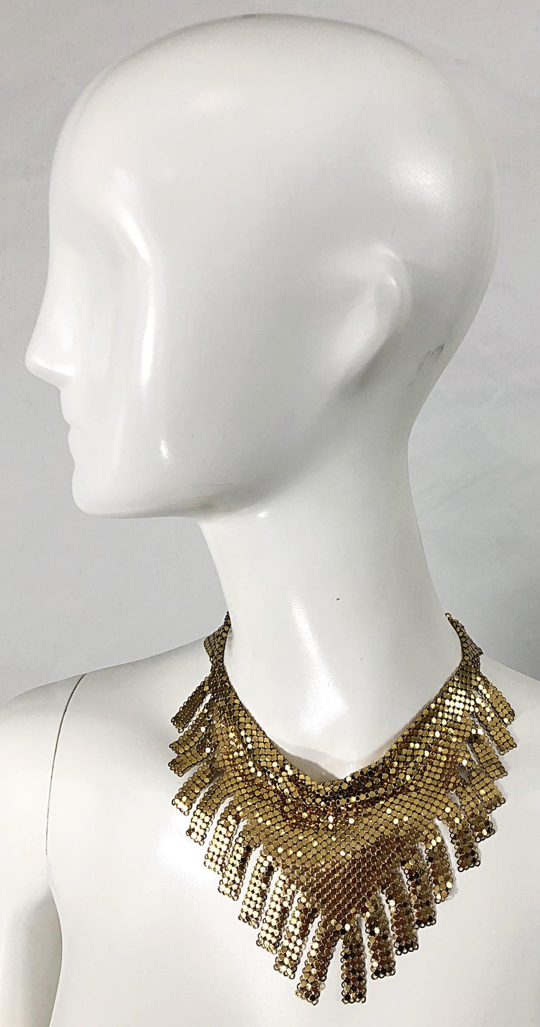 Rare WHITING AND DAVOIS gold fringe metallic chain mail Egyptian style disco bib necklace !  This gem just screams STUDIO 54 ! Adjustable clasp can be worn at different lengths. Can really make any outfit. In great condition Made in USA