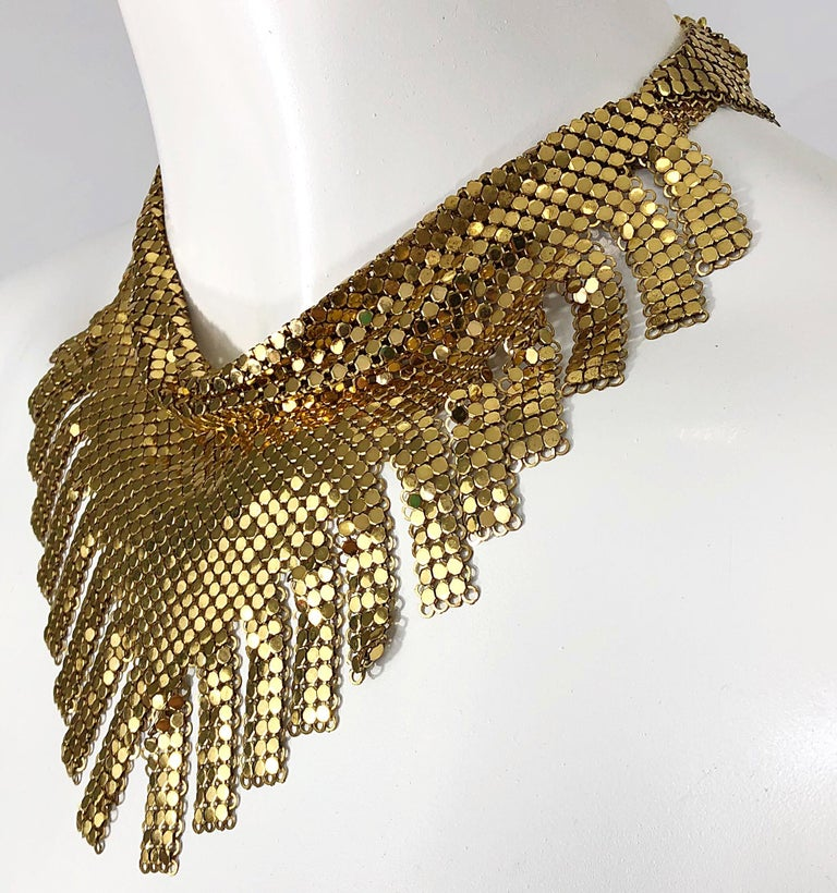 Women's 1970s Whiting & Davis Gold Chainmail Metal Fringed Vintage 70s Bib Necklace For Sale