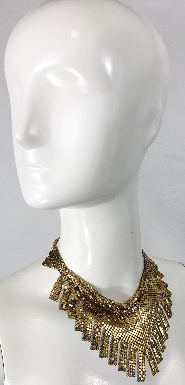 1970s Whiting & Davis Gold Chainmail Metal Fringed Vintage 70s Bib Necklace For Sale 1