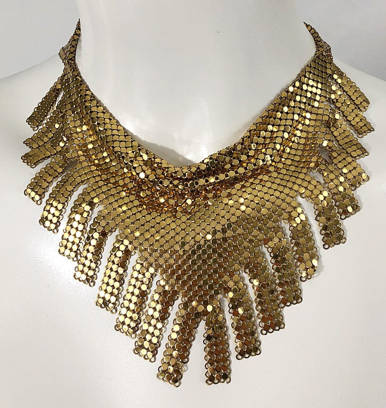1970s Whiting & Davis Gold Chainmail Metal Fringed Vintage 70s Bib Necklace For Sale 5