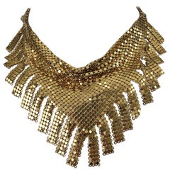 1970s Whiting & Davis Gold Chainmail Metal Fringed Vintage 70s Bib Necklace