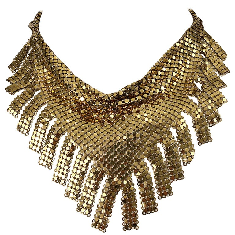 1970s Whiting & Davis Gold Chainmail Metal Fringed Vintage 70s Bib Necklace For Sale