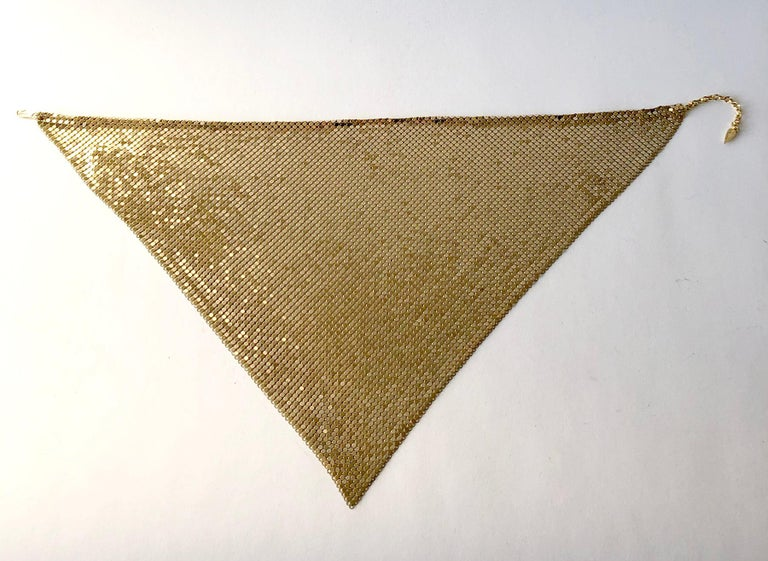 Metal gold mesh necklace by Whiting & Davis circa 1970's.  Necklace measures 20
