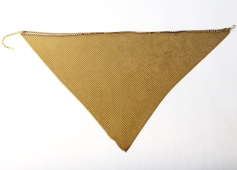 Modernist 1970s Whiting and Davis Golden Metal Mesh Disco Necklace For Sale