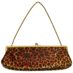 Whiting & Davis 1970s Metal Mesh Leopard Print Clutch