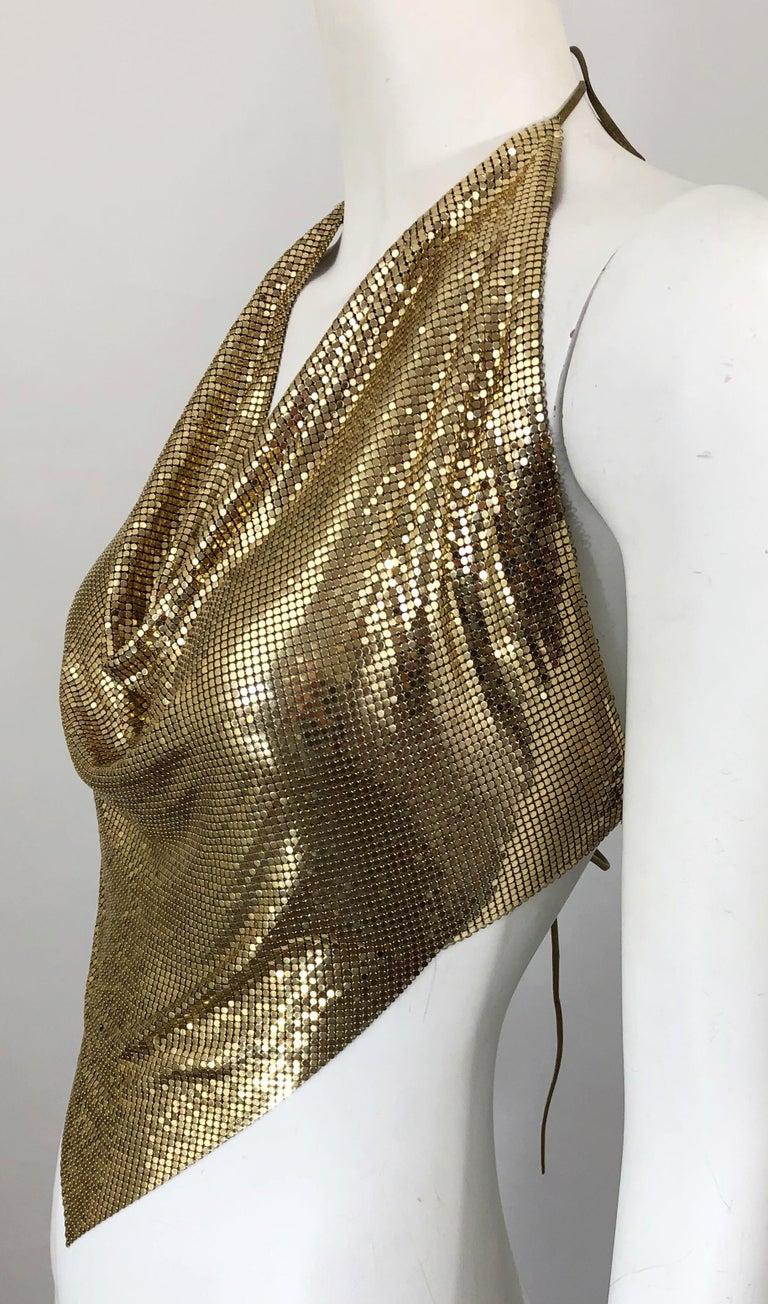 vintage 80s WHITING and DAVIS top  silver metal mesh shirt blouse top  rare designer top  slinky mesh disco top  rhinestone metallic top