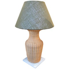 1970s Wicker Lamp with Green Shade on Square White Marble Base