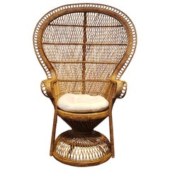 1970s Wicker Rattan Peacock Throne Chair