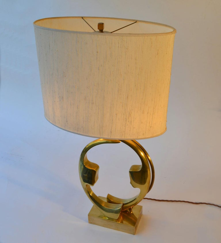 Late 20th Century 1970s Willi Daro Bronze Table Lamp with Silhouette Faces For Sale