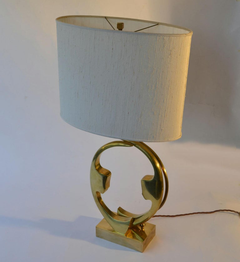 Brass 1970s Willi Daro Bronze Table Lamp with Silhouette Faces For Sale