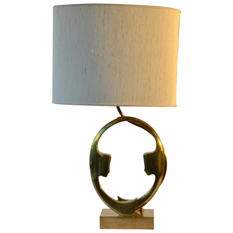 1970s Willi Daro Bronze Table Lamp with Silhouette Faces For Sale
