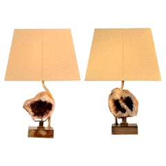 Willy Daro Pair of Table Lamps with Amethyst Sculptures