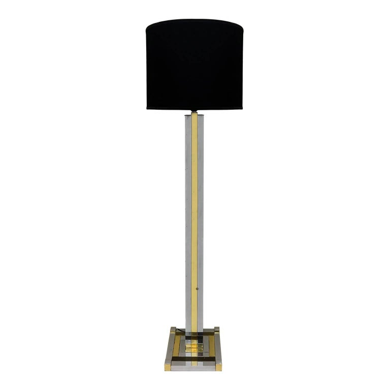 1970s Willy Rizzo Brass and Chrome Floor Lamp with Velvet Shade