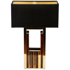 1970s Willy Rizzo Brass Table Lamp with Raw Silk Black Shade