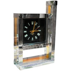 1970s Willy Rizzo Chrome and Brass Table Clock