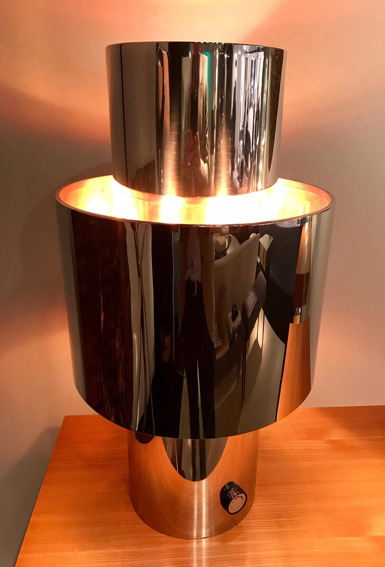 Mid-Century Modern 1970s Willy Rizzo Chrome Lamp