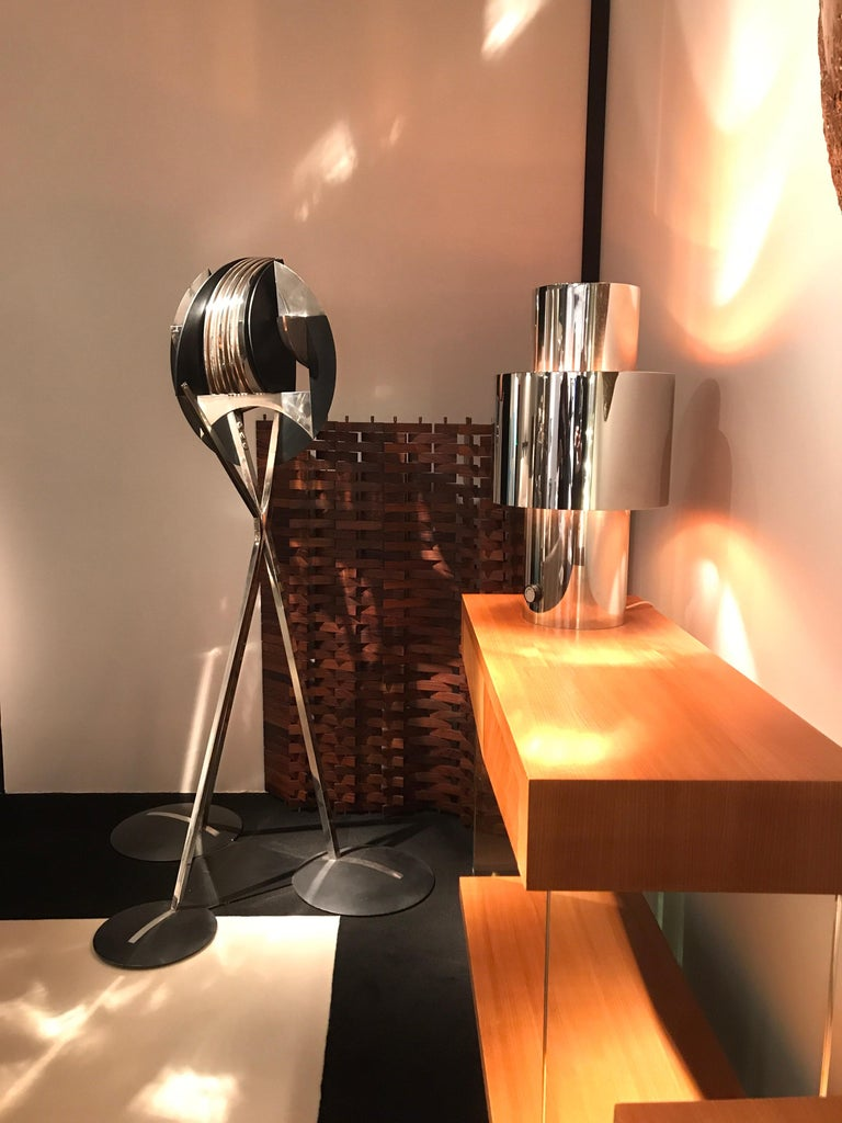 Metal 1970s Willy Rizzo Chrome Lamp