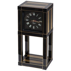 1970s Willy Rizzo for Lumica Black Lacquered Metal Quarz Table Clock