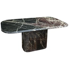 1970s Willy Rizzo for Roche Bobois Black, White and Burgondy Marble Dining Table