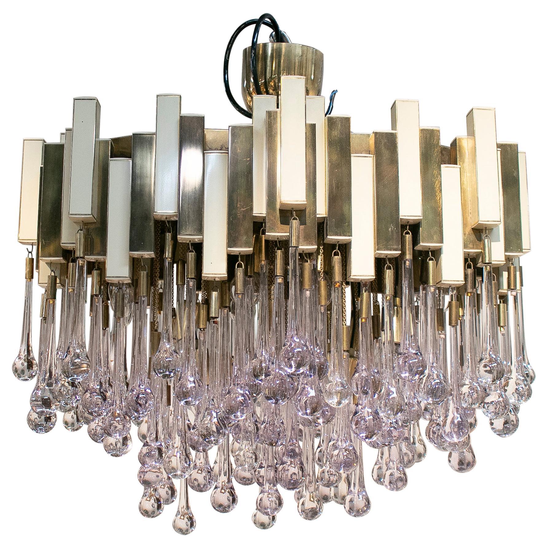 1970s Willy Rizzo Italian Venetian Murano Glass Bronze Ceiling Lamp