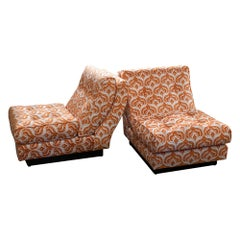 1970s Willy Rizzo Lounge Chairs, White and Orange Jacquard Velvet, Black Leather