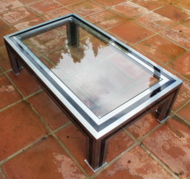 1970s Willy Rizzo Steel Coffee Table with Glass Top For Sale 6