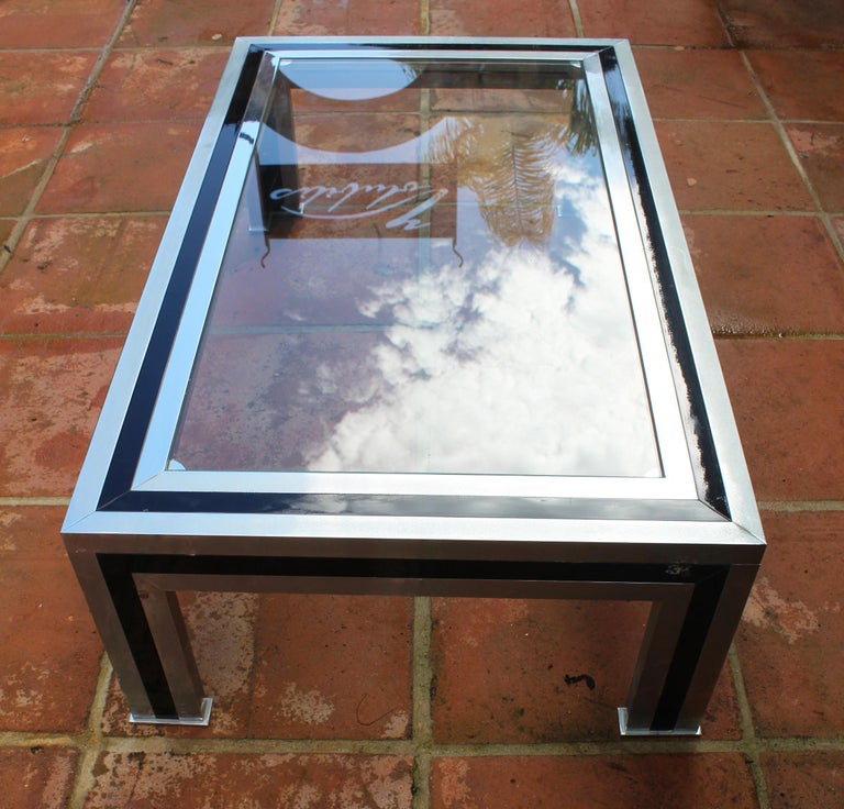 1970s Willy Rizzo Steel Coffee Table with Glass Top For Sale 7
