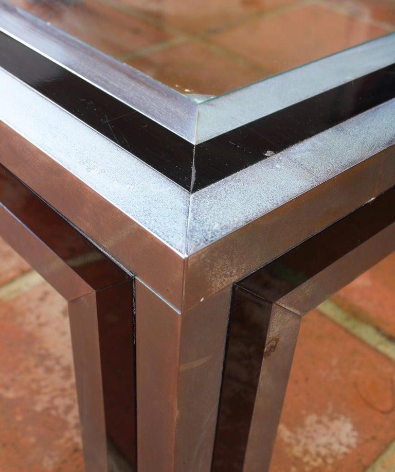 1970s Willy Rizzo Steel Coffee Table with Glass Top For Sale 8