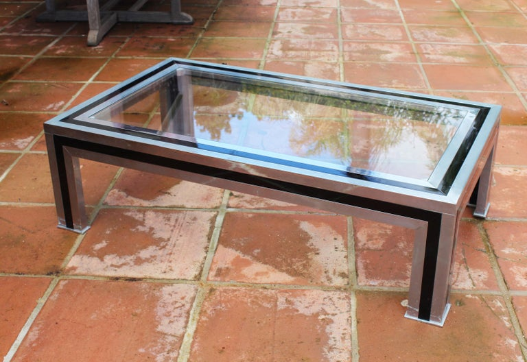 1970s Willy Rizzo steel rectangular coffee table with glass top.