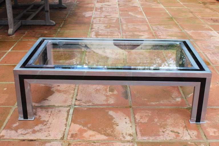 French 1970s Willy Rizzo Steel Coffee Table with Glass Top For Sale